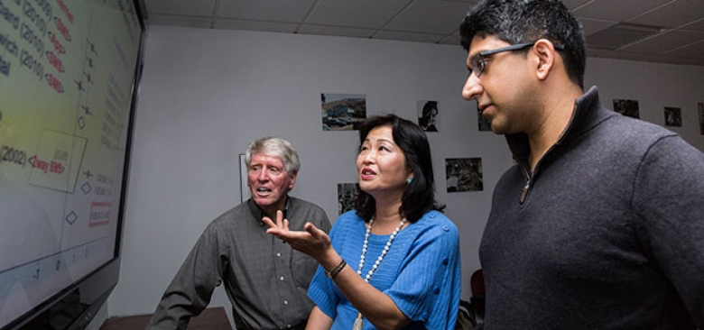 Yoshimi Fukuoka with William Haskell (left) and Anil Aswani (photos by Elisabeth Fall)
